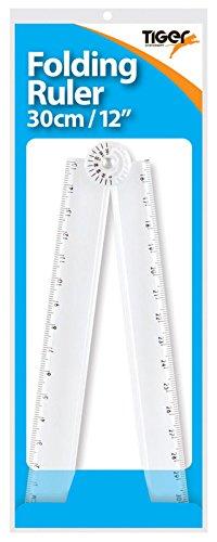 Règle pliable en plastique Tiger - Avec rapporteur - Mesure des angles et des millimètres
