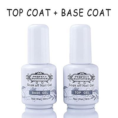 Perfect Summer 2PCS Gel Nail Polish Top Coat + Base Coat UV LED Manicure Shiny Surface Cover Primer