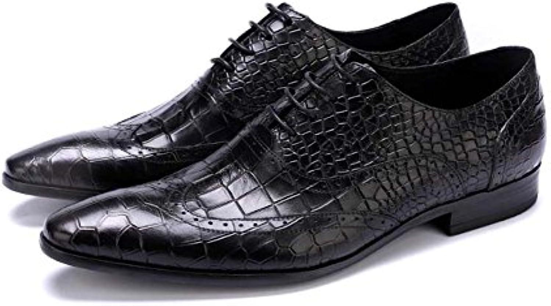 GLSHI Herren Kleid Schuhe Spitze europäischen Schuhe geprägtem Stein Muster atmosphärische Hochzeit Schuhe