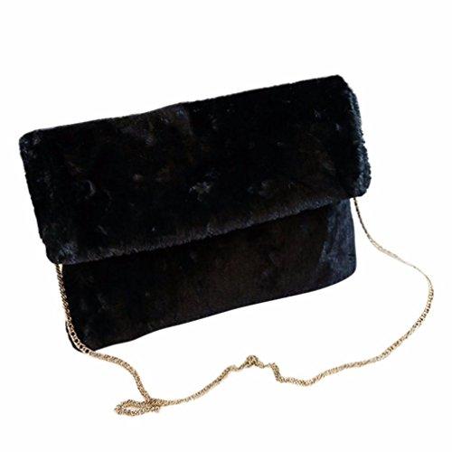 Koly_Le donne della peluche a tracolla pacchetto della busta (Nero)