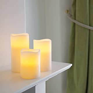 Set of 3 Real Wax Battery Operated Flameless LED Candles with Timer by Lights4fun