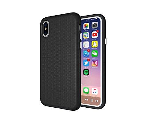 iPhone X Hülle, Heavy Duty Rüstung Anti-Kratzer PU Silikon Handyhülle [Dual Layer] Stoßfest Etui Shockproof Case Cover Kompletter Schutz Tasche Schutzhülle für Apple iPhone X (Rote) Schwarz