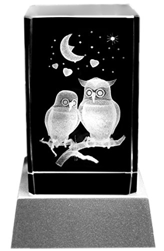 Kaltner Präsente Stimmungslicht LED Kerze/Kristall Glasblock / 3D-Laser-Gravur Verliebte Eulen Kristall-kerze