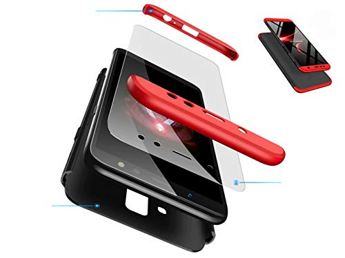DYGG kompatibel mit hülle für Samsung Galaxy a8s hülle,360 Grad Schutz Schutzhülle Ultra dünn Soft PC Hartgummi handyhülle Case Cover Nicht enthalten Panzerglas - Schwarz & Rot