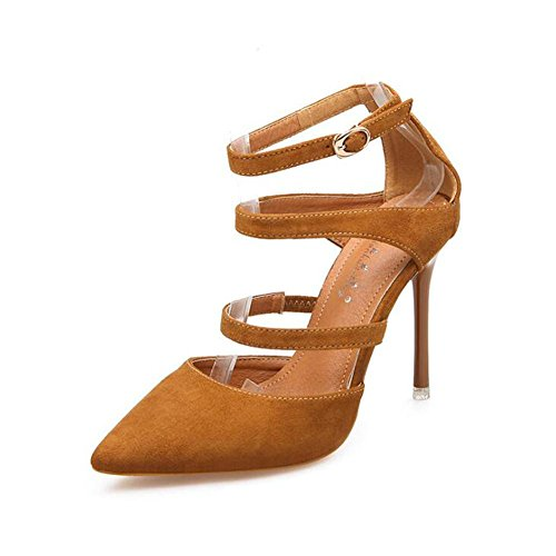 L@YC Tacchi alti delle donne Estate e autunno Fibbia di parole con i sandali puntato a sfera di nozze Brown