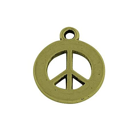 15 x Steampunk Antique Bronze Tibetan 18mm Charms Pendants (Peace Sign) - (ZX11500) - Charming Beads