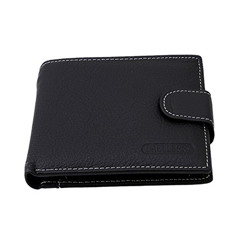 Gluckliy Männliches Geld Bargeld Kartenhalter Tasche Kurz Dünn Kreditkartenhalter Geldbörsen (Schwarz) Schwarz