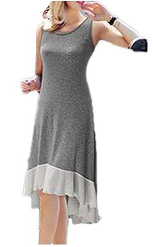 SHUNLIU Frauen elegante ärmellose High-Low Swing Party Cocktail Kleid Grau