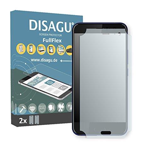 Disagu HTC U11 Schutzfolie - 2 x FullFlex Folie für HTC U11 (Displayschutzfolie legt Sich passgenau um Das Gebogene Display) (verkleinerte Folie)