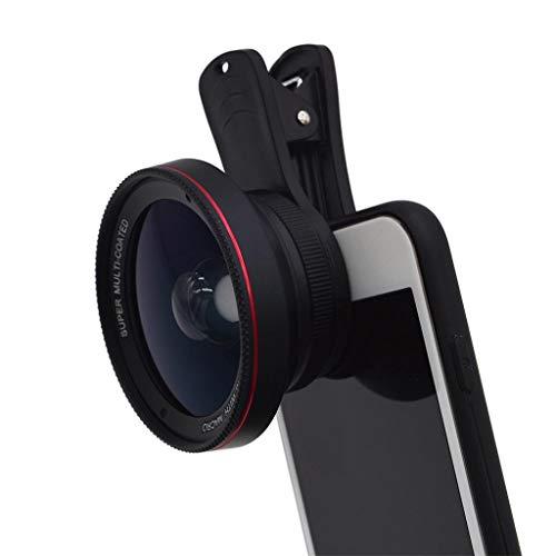 Kameraobjektiv 0.6X Weitwinkel + 15X Makro-Objektivclip-On-Lens-Kit für iPhone 7 / 6S / 6, für Samsung Galaxy & die meisten Smartphones,Telephoto Len mit Objektivabdeckung 2 in 1 Linse (Black)