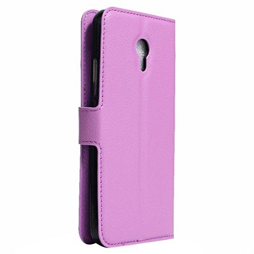 Meizu M5 / Meilan 5 Litchi Textur Horizontale Flip Leder Ständer Brieftasche Case mit Halter & Card Slots & Wallet by diebelleu ( Color : Green ) Purple