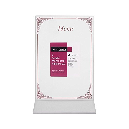 Larder 3 Acryl-Menü-Kartenhalter Des Kochs (A5) 6 Stück