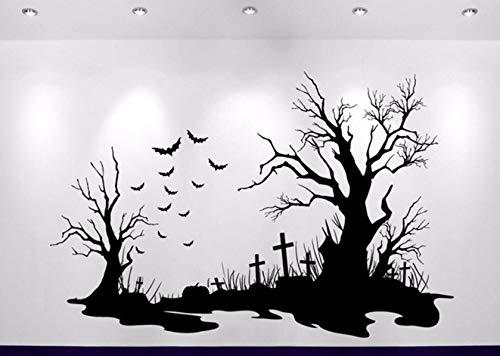 Dalxsh Halloween Friedhof Szene Aufkleber Heißer Verkauf Dekoration Wandaufkleber Sofa Hintergrund DekorAbziehbilder60X40 Cm