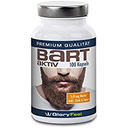 GloryFeel Bart Aktiv Kapseln - 100 Vegane Kapseln Bart-Aktiv - 5mg Biotin Plus Vitamin A, B12, D, E, Panthoten- Und Folsäure