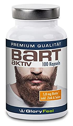 GloryFeel Beard-Active Beard Growth Supplement | 100 Vegan High Strength Beard-Boost Capsules | Natural Facial Hair Growing with Biotin + Vitamins A, B12, D and E