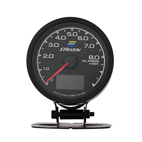 Qiilu QL05020 Misuratore della temperatura dell'olio del manometro del turbo della pressione dell'olio per auto da corsa(manometro Turbo Boost)