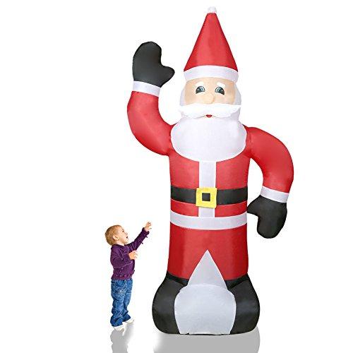 Cclife illuminato babbo natale gonfiabile - con illuminazione a led e kit fissaggio, addobbo e decorazione natalizia, colore:rosso002-240cm