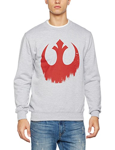 Star Wars Sudadera Distressed Rebel Logo Gris Claro L