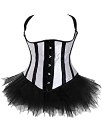 Plus Size Underbust Halter Corset TOP With Fluffy TUTU Set Waistcoat