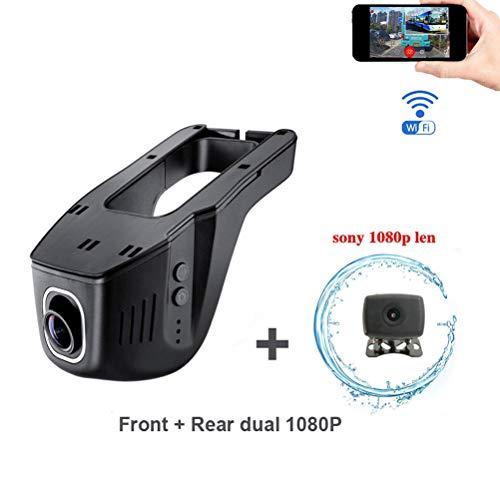 WiFi coche DVR cámara delantera trasera dual Full HD 1080P dual Dash...
