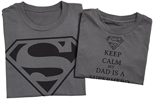 Keep Calm My Dads A Super Hero II - Passende Vater Kind Geschenk-Set - Vater T-Shirt und Kinder T-Shirt Grün
