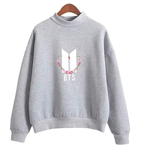 Herqw61 Damen Mädchen KPOP BTS Pullover Sweatshirt BTS Blumen Pulli Sweater Suga Jimin Jin Jung Jook J-Hope Rap Monster V(XL Grau/Floral)