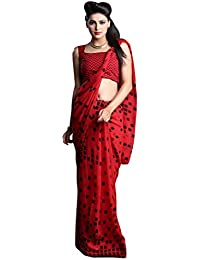 1 Stop Fashion Women's Red Color Georgette Saree With Digital Print & Blouse