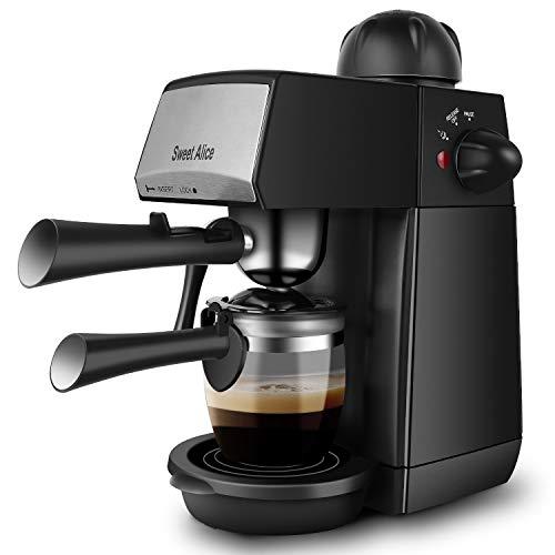 Sweet Alice Espressomaschine, 240ml Kaffeemaschine Elektrische, Espressomaschine fur Cappuccino und Latte, Milchbehälter und Edelstahl (4 Tassen, 800W)