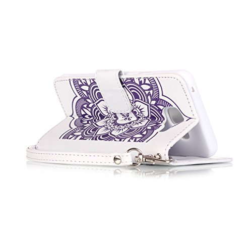 C-Super Mall-UK Apple iPhone 6 Plus / 6s Plus 5.5 Inch hülle: Qualität Exquisite Geprägte Traumfänger und Blumenmuster PU-Leder-Mappen-Standplatz -Schlag-hülle für Apple iPhone 6 Plus / 6s Plus 5.5 In white & purple