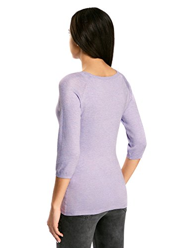 oodji Collection Damen Pullover Basic mit 3/4-Ärmeln Violett (8000M)