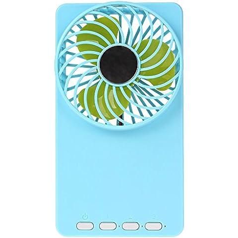 SUNDY multifunzionale Mini ventilatore USB portatile ricaricabile 18650-Ventola di raffreddamento con 3 modalità di velocità, per casa, ufficio, per PC, Laptop, colore: blu