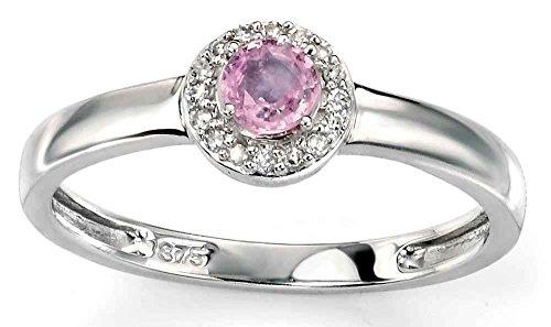 Mein-Juwel – D419Pde-54 – GoldRing mit rosa Saphir und Diamant 0.05 karat in Weißgold 375.