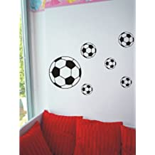 Adhesivos de pared decorativos, diseño de 6balones de fútbol, negro, 12 Bälle