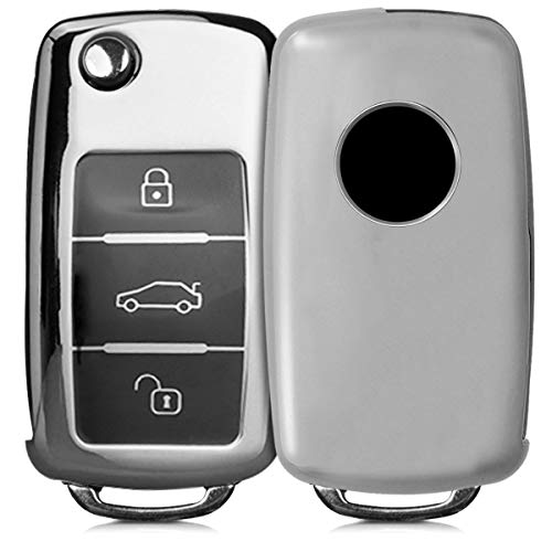kwmobile Autoschlüssel Hülle für VW Skoda Seat - TPU Schutzhülle Schlüsselhülle Cover für VW Skoda Seat 3-Tasten Autoschlüssel Hochglanz Silber