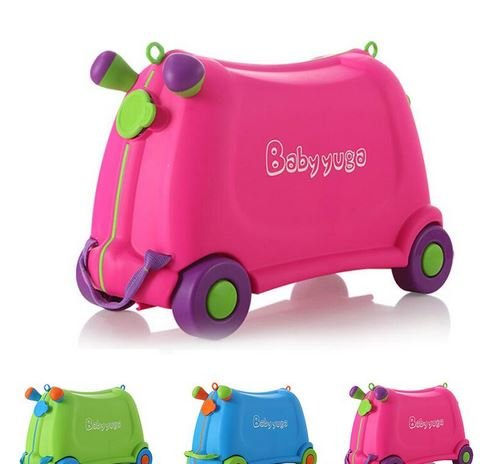 A&B Kids Travel Luggage Portable Ride On Suitcase Pink