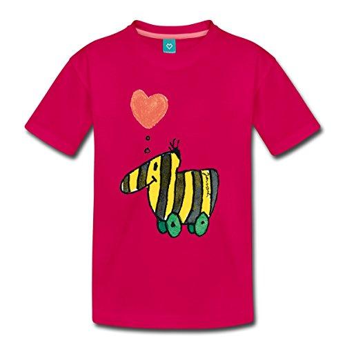 Spreadshirt Janosch Große Tigerente Mit Herz Kinder Premium T-Shirt, 110/116 (4 Jahre), dunkles Pink (T-shirt Bücher Dunklen)