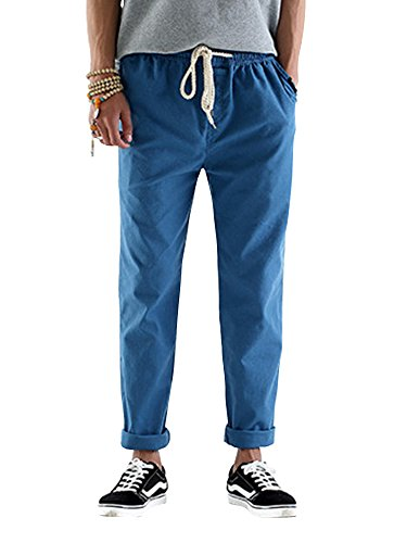 Homme Pantalon En Mélange Coton Lin Coupe Large Décontracté Léger Confortable Respirant