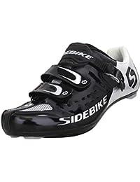 SIDEBIKE - Zapatillas de ciclismo para adultos con pedales y tacos para bicicleta de carretera, nailon transpirable y acolchado para ciclismo, malla transpirable