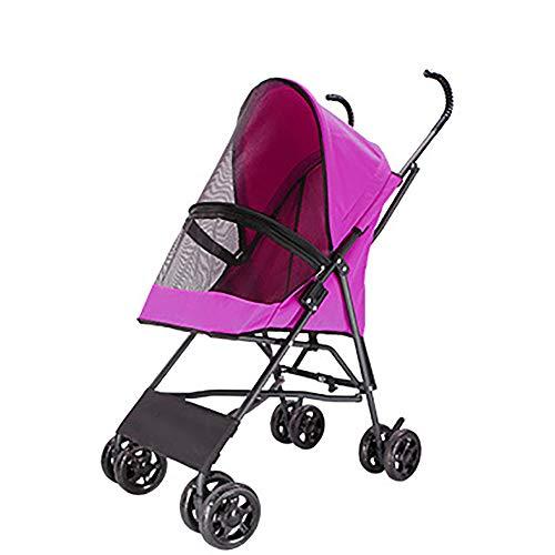 Zusammenklappbarer Leichter Kinderwagen,Teddy Aus Warenkorb Bequemer Regenschirmwagen Für Haustiere One-Touch-Speicher One-Button-Öffnung Rutschfester Griff,Geeignet Für Haustiere Bis 10 Kg,Pink -