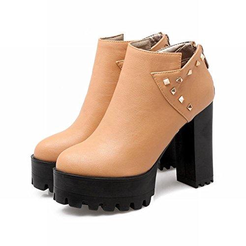 Mee Shoes Damen runde mit Nieten Reißverschluss chunky heels Plateau Ankle Boots Gelbbraun