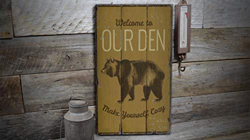YCCCYOZ Our Ben Den Schild, Bear Den Lodge, Bär Holz Lodge, Camping Dekor, Holzkabinendekoration, Indoor Outdoor Wand Tür Holz alte Schilder Dekor (Outdoor-camping-dekor)
