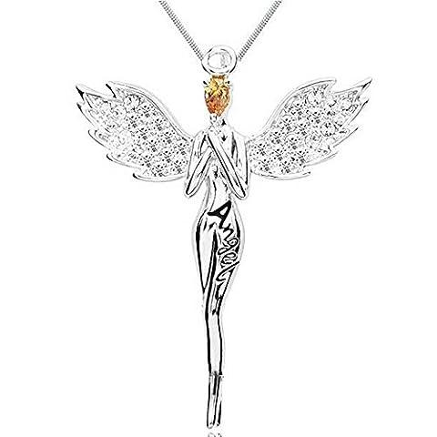 MESE London Ange Gardien Pendentif Argent Angelic Collier Protector - Coffret Cadeau Gratuit