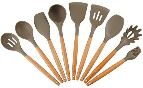 Silikon Küchenhelfer Set für Kochen Holz Küchenutensilien Kochbesteck Set Küchenhelferset (9 Pcs, Grau)