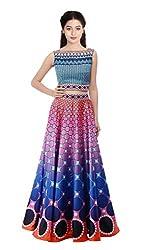KMOZI Silk Lehenga Choli (Blue And Multi-Coloured_Free Size)
