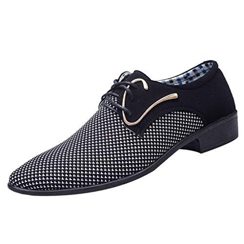 Terrasse, Stapelbar (CixNy Herren Anzugschuhe Oxford, Lederschuhe Derby Business Casual Schuhe England Tuch Loafers Hochzeit Schnürhalbschuhe Schwarz Dunkelblau 39-47 (Schwarz, 44))
