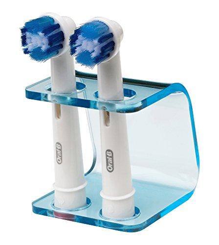 Seemii - Soporte para cabezales de cepillo de dientes electrónico, Soporta 2 ó 4 cabezales, Soporte Oral-B cabezales, Azul transparente (2)