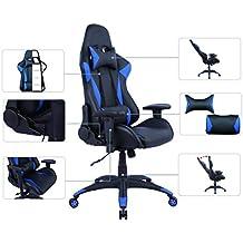 AmazonBasics - Gaming-/Bürostuhl, Rennsport-Design, PU-Leder, Blau