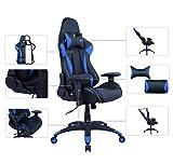 AmazonBasics - Sedia da ufficio e da Gaming, design Racing, in pelle PU, blu