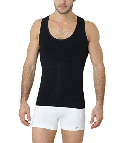 Formeasy Shapewear Figurformendes Herren Unterhemd Bauchweg-Shaper Kompression Schwarz
