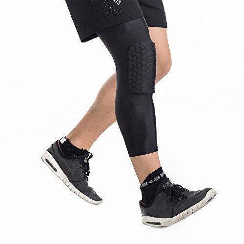 dgyao Schutz Kompression Knie Pads Crashproof Fußball Basketball Bein Sleeve Sport Knieschoner Kneepad Displayschutzfolie Kniebandage Small schwarz - 5